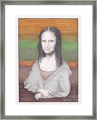 Mona Lisa, Redux, In Gray Hoodie -- Whimsical Redo Of The Mona Lisa Framed Print