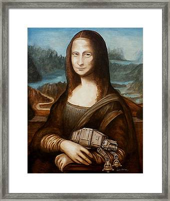Framed Print featuring the painting Mona Lisa What You Smiling At At by Al  Molina