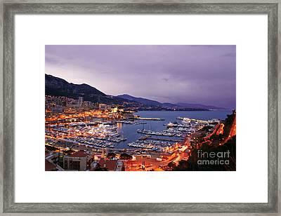 Monaco Harbor At Night Framed Print by Matt Tilghman