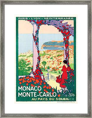 Monaco Monte-carlo Travel Poster 1922 Framed Print by Vincent Monozlay