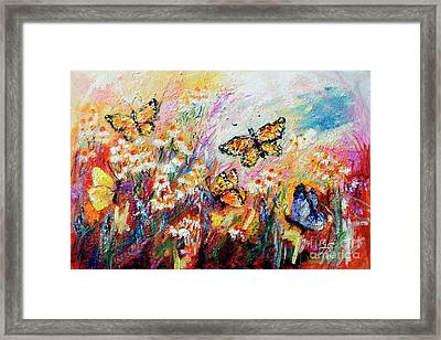 Framed Print featuring the painting Monarch Butterflies And Chamomile Flowers by Ginette Callaway