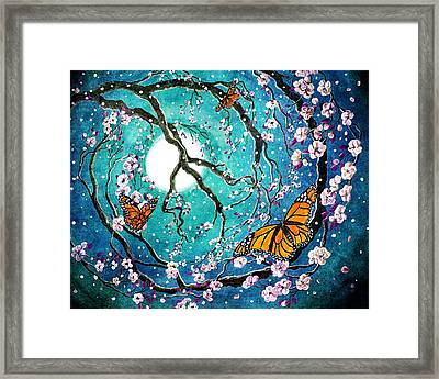 Monarch Butterflies In Teal Moonlight Framed Print by Laura Iverson