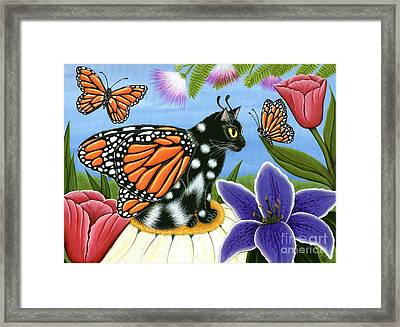 Monarch Butterfly Fairy Cat Framed Print