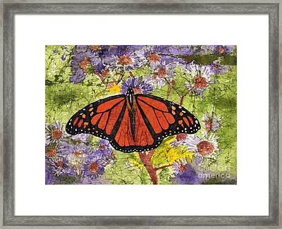 Monarch Butterfly On Purple Flowers Watercolor Batik Framed Print