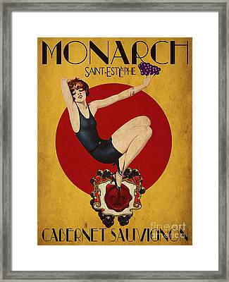 Monarch Wine A Vintage Style Ad Framed Print by Cinema Photography