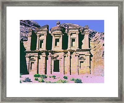 Monastery At Petra Framed Print by Dominic Piperata