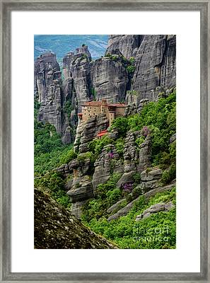 Monastery Of Saint Nicholas Of Anapafsas, Meteora, Greece Framed Print