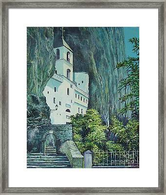 Monastery Ostrog Montenegro Framed Print by Sinisa Saratlic