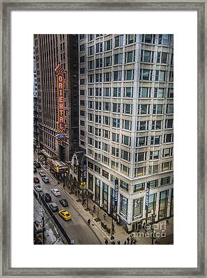 Monday Afternoon On State Street In Chicago Illinois. Elevated View State And Randolph. Framed Print by Linda Matlow