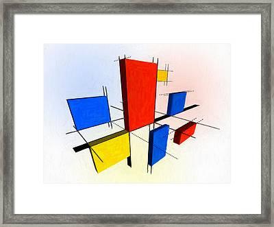 Mondrian 3d Framed Print by Michael Tompsett