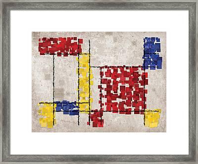 Mondrian Inspired Squares Framed Print