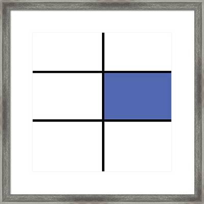 Mondrian Style Minimalist Pattern In Blue 01 Framed Print