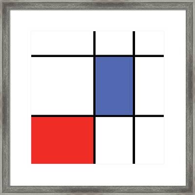 Mondrian Style Minimalist Pattern In Blue And Red Framed Print by Studio Grafiikka