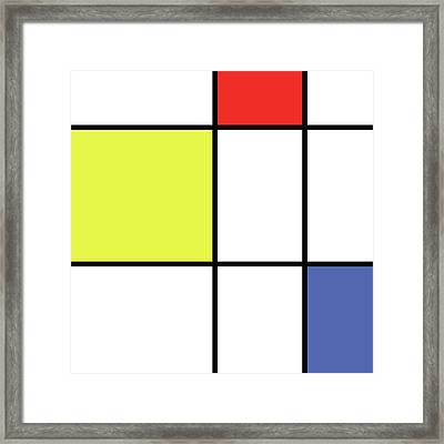 Mondrian Style Minimalist Pattern In Blue, Red And Yellow 01 Framed Print by Studio Grafiikka