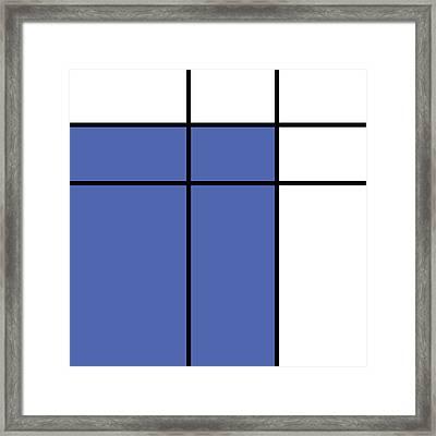 Mondrian Style Minimalist Pattern In Blue Framed Print