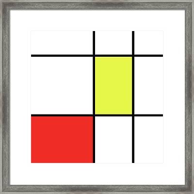 Mondrian Style Minimalist Pattern In Red And Yellow Framed Print by Studio Grafiikka