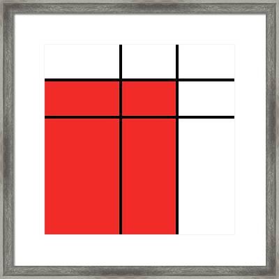 Mondrian Style Minimalist Pattern In Red Framed Print by Studio Grafiikka