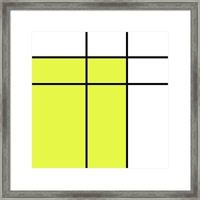 Mondrian Style Minimalist Pattern In Yellow Framed Print by Studio Grafiikka