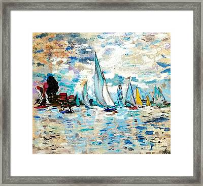 Monet Boats On Water Framed Print