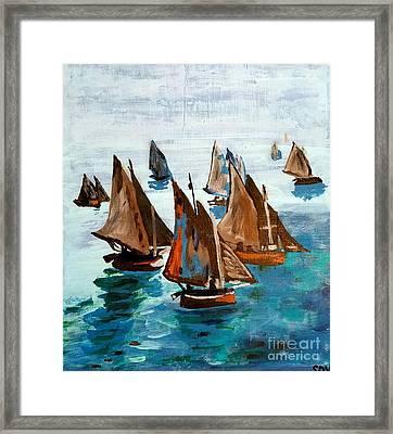 Monet Fishing Boats Calm Seas Framed Print