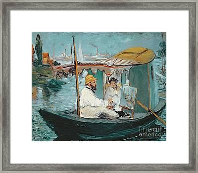 Monet In His Floating Studio Framed Print