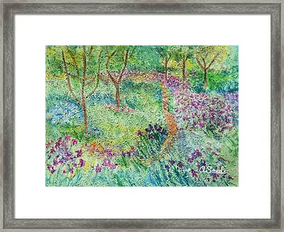Monet Inspired Iris Garden Framed Print