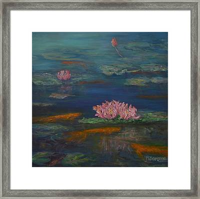 Monet Inspired Water Lilies With Gold Fish In A Pond Framed Print