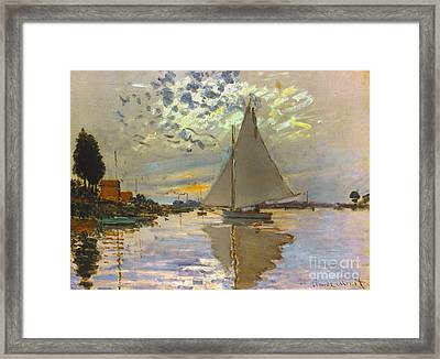 Monet: Sailboat Framed Print by Granger
