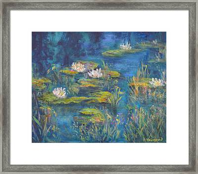 Monet Style Water Lily Marsh Wetland Landscape Painting Framed Print