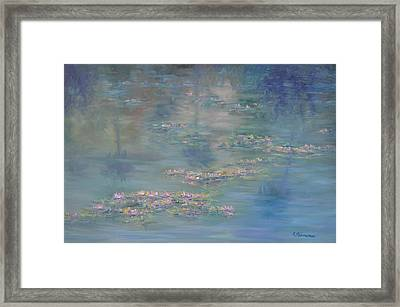 Monet Style Water Lily Peaceful Tropical Garden Painting Print Framed Print