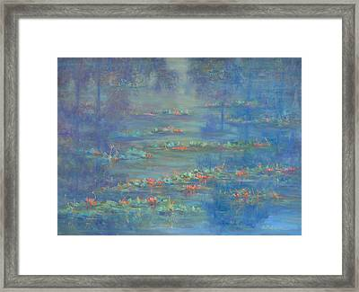 Monet Style Water Lily Pond Landscape Painting Framed Print