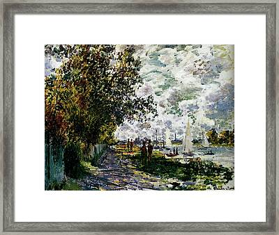 Monet The Riverbank At Gennevilliers Framed Print by Claude Monet