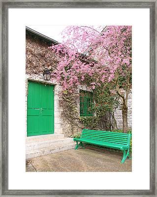 Monet's Bench Framed Print