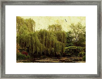 Framed Print featuring the digital art Monet's Garden by Margaret Hormann Bfa