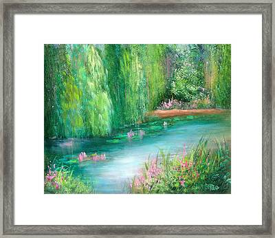 Monet's Pond Framed Print by Sally Seago