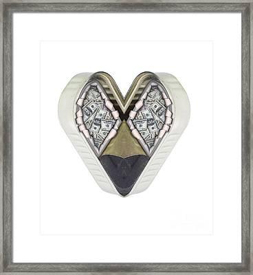 Money And Heart Framed Print