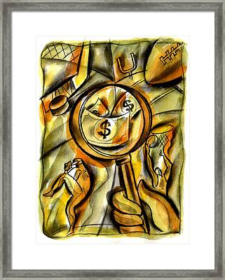 Money And Professional Sports   Framed Print by Leon Zernitsky