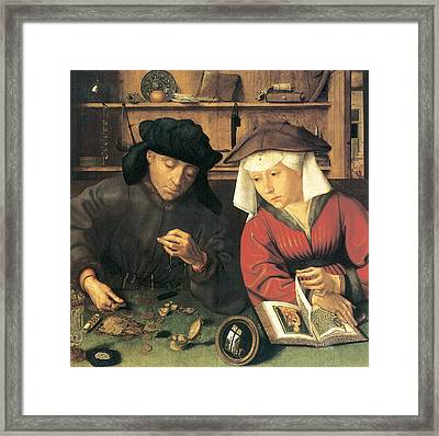 Money Changer And His Wife Framed Print by Quentin Metsys