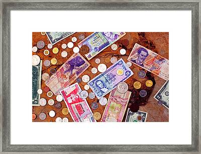 Money From Around The World Framed Print by Thomas R Fletcher