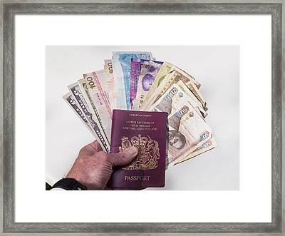 Money From Various Countries Framed Print by Charles Bowman