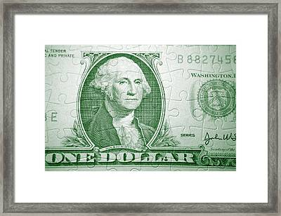 Money Puzzle Framed Print by Les Cunliffe