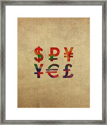 Money Symbols In Watercolor Framed Print