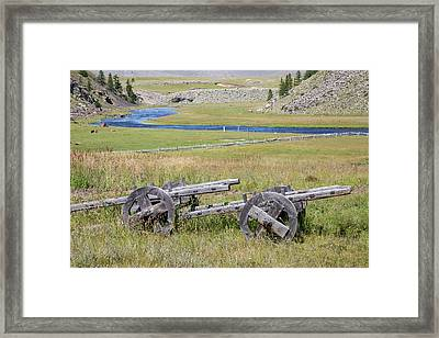 Framed Print featuring the photograph Mongolian Ox Carts by Hitendra SINKAR