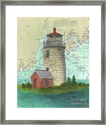 Monhegan Island Lighthouse Nautical Chart Map Maine Framed Print by Cathy Peek