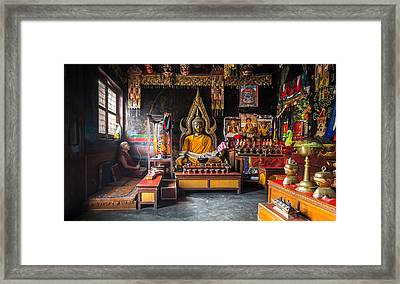 Kathmandu Monk Framed Print by Marty Garland