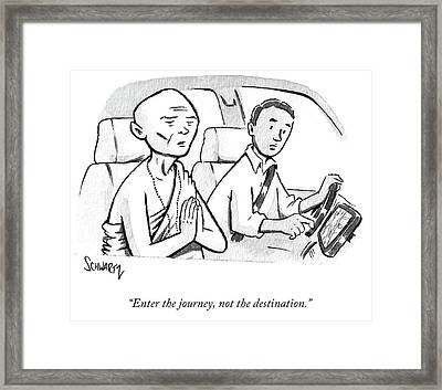 Monk Enters A Cab With No Destination. Framed Print
