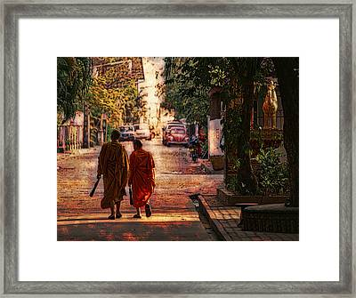 Framed Print featuring the digital art Monk Mates by Cameron Wood