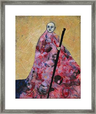 Monk With Walking Stick Framed Print by Pauline Lim