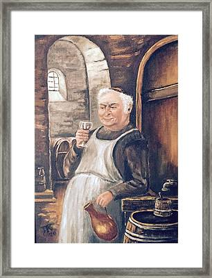 Monk With Wine Framed Print