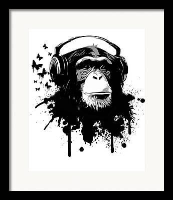 Chimpanzee Digital Art Framed Prints